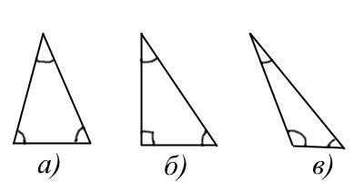 а) - остроугольный, б) - прямоугольный, в) - тупоугольный треугольники.